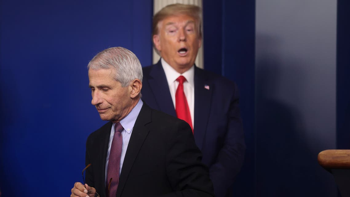 U.S. President Donald Trump reacts as Dr. Anthony Fauci steps away from the podium after speaking and answering questions at the daily coronavirus task force briefing at the White House in Washington, U.S., April 22, 2020. REUTERS/Jonathan Ernst