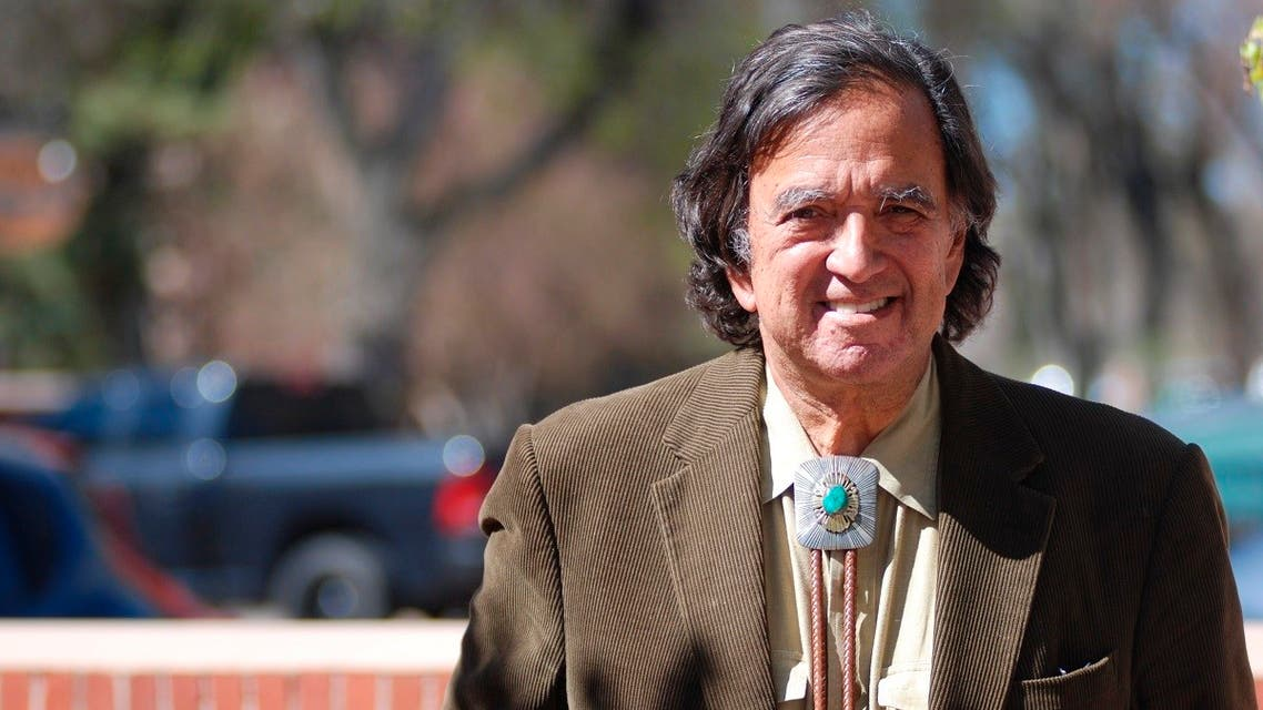 Former New Mexico Gov. Bill Richardson emerges from his office in Santa Fe, N.M., Thursday, March 9, 2020. (AP)