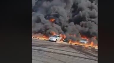 شاهد.. انفجار خط بترول يسبب حريقاً في مصر