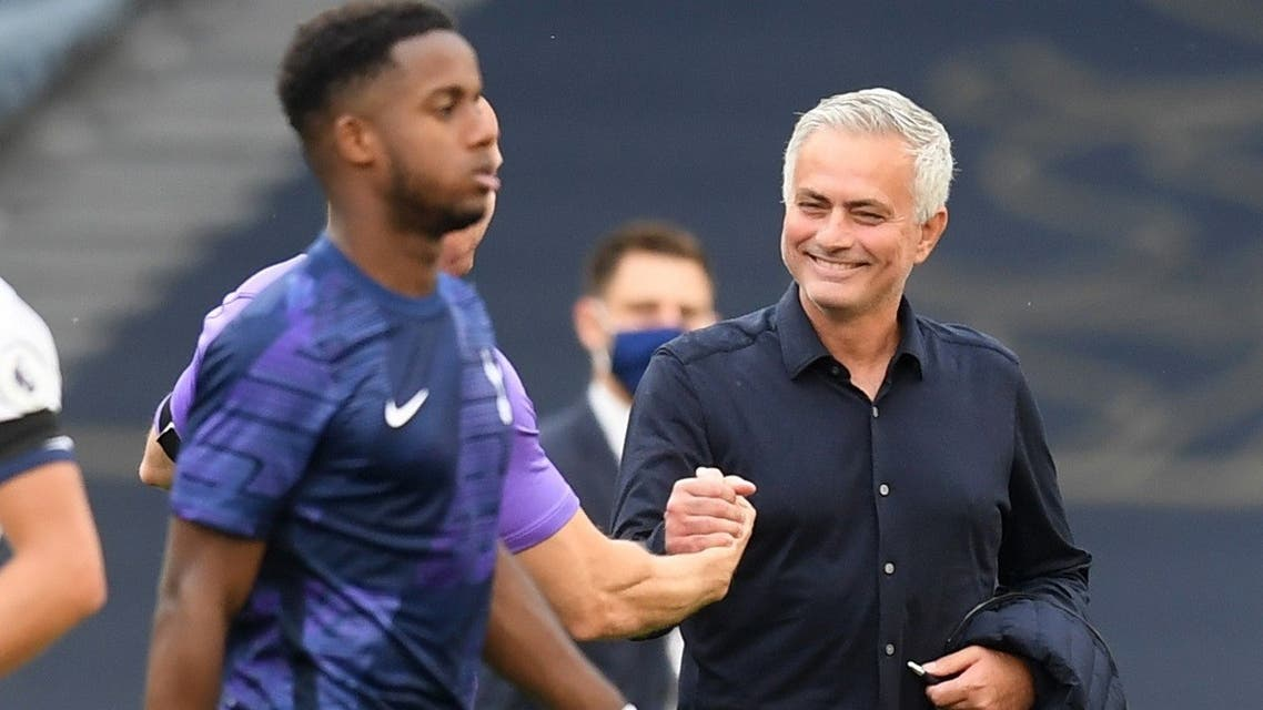 Tottenham Hotspur manager Jose Mourinho celebrates after the match. (Reuters)