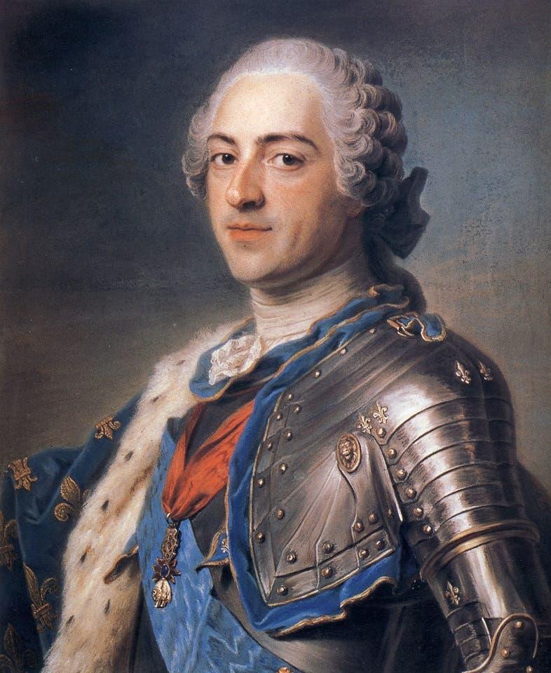 لوحة تجسد ملك فرنسا لويس الخامس عشر