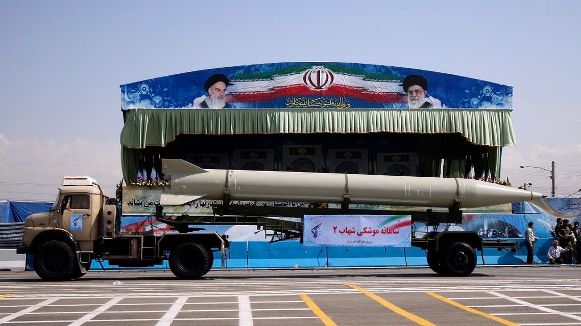 Military vehicle carrying Shahab 2 surface-to-surface missile during parade to commemorate anniversary of Iran-Iraq war, in Tehran. (Reuters)