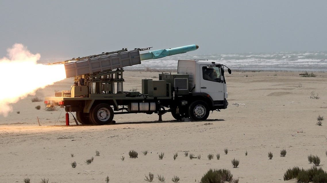 An Iranian locally made cruise missile is fired during war games in the northern Indian Ocean and near the entrance to the Gulf. (Reuters)