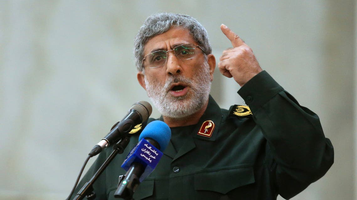 Iranian General Esmail Ghaani speaks in a meeting at the shrine of the late revolutionary founder Ayatollah Khomeini just outside Tehran, Iran. (File: Tasnim News Agency via AP)
