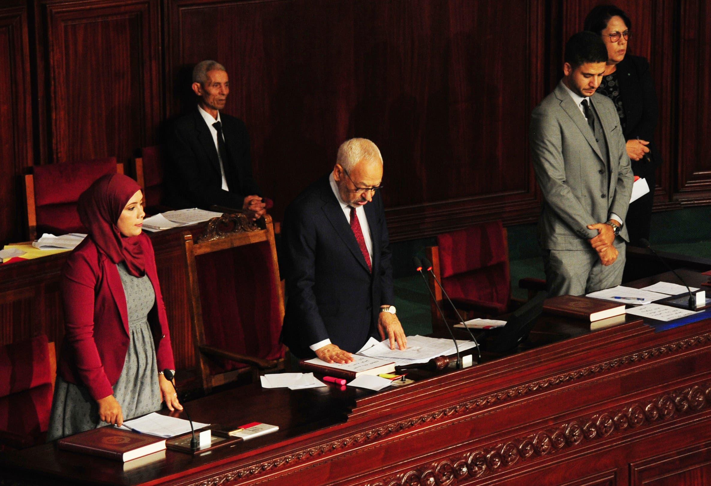 راشد الغنوشي في البرلمان التونسي(أرشيفية- أسوشييتد برس)