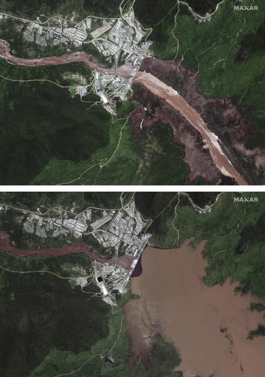 صور الأقمار الصناعية تكشف زيادة مياه خزان سد النهضة
