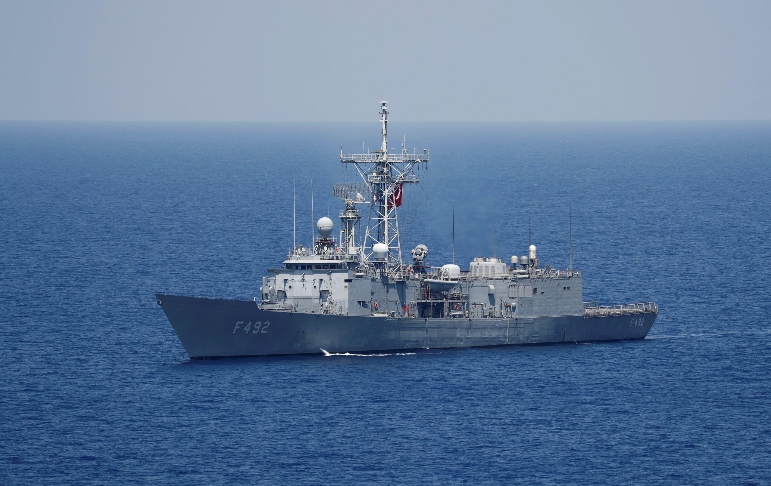 Turkish Navy frigate TCG Gemlik (F-492) escorts Turkish drilling vessel Yavuz in the eastern Mediterranean Sea off Cyprus. (File photo: Reuters)