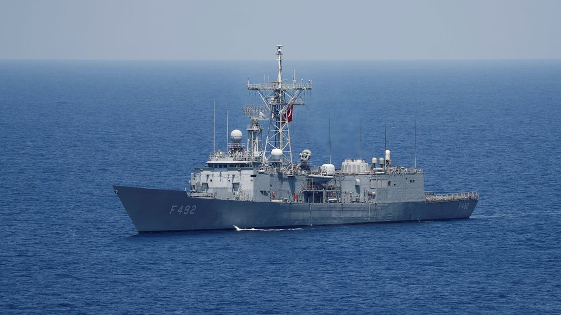 Turkish Navy frigate TCG Gemlik (F-492) escorts Turkish drilling vessel Yavuz in the eastern Mediterranean Sea off Cyprus, Aug. 6, 2019. (Reuters)