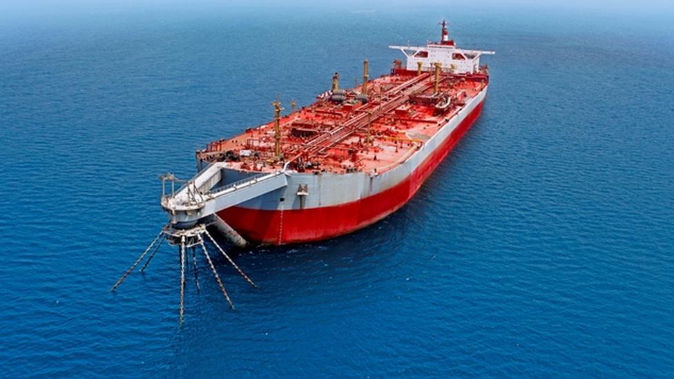FSO Safer, the tanker holding 1.1 million barrels of crude oil in the Red Sea off Yemen. (Twitter)