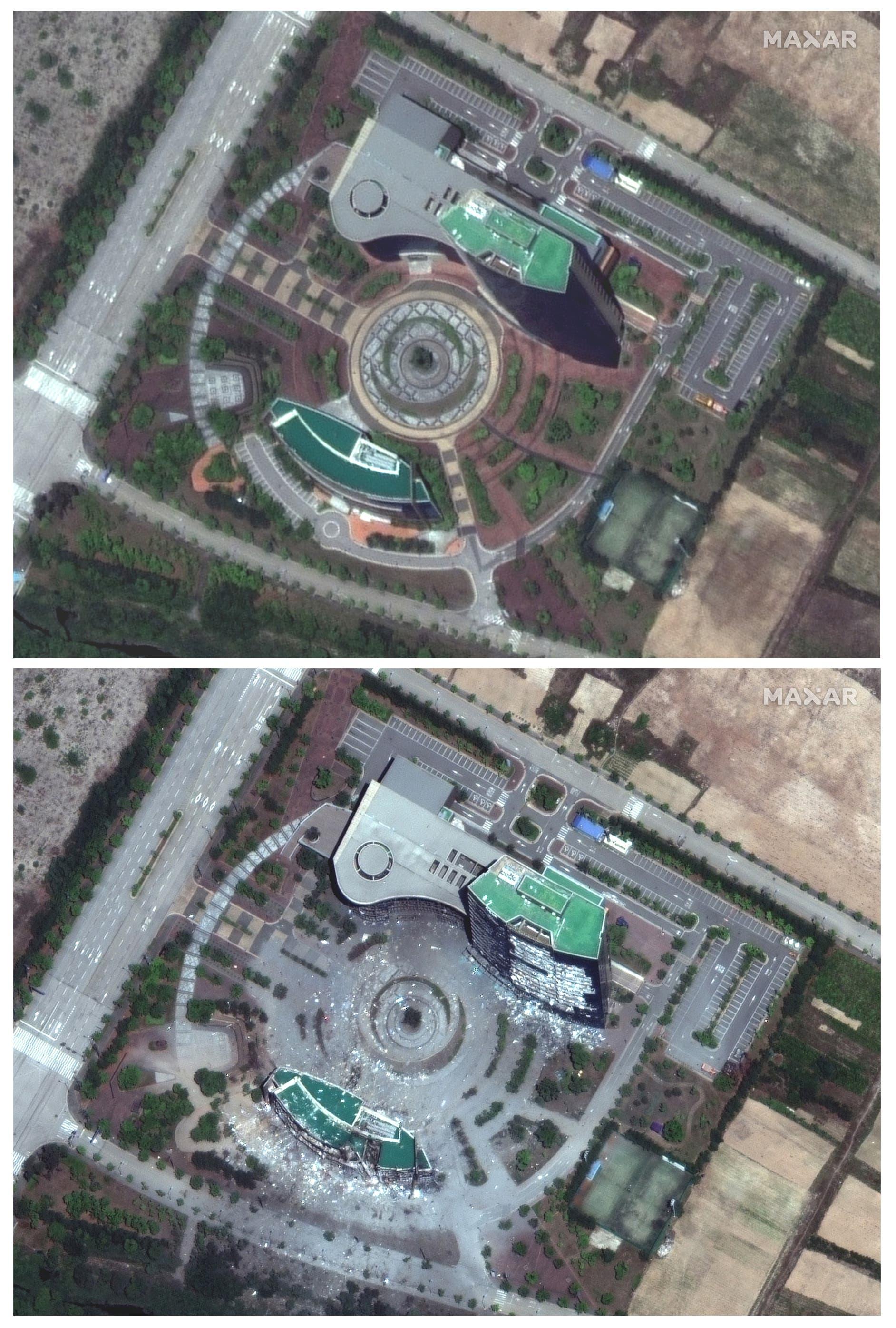 صور تؤكد تدمير مبنى الاتصال بين الكوريتين
