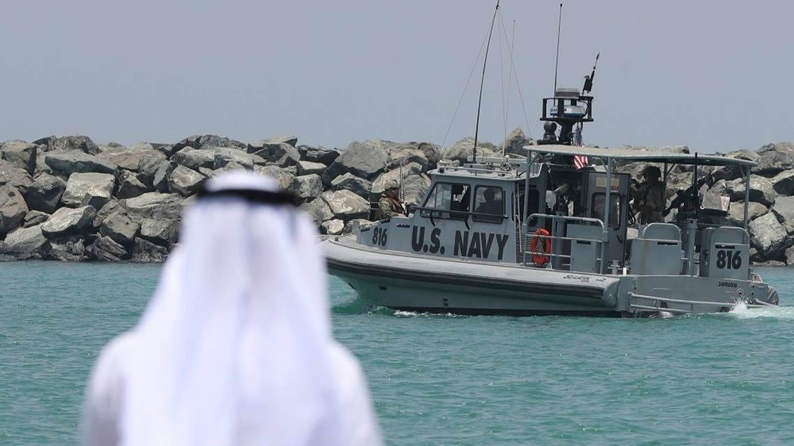 In this June 19, 2019 file photo, a US Navy patrol boat carrying journalists to see damaged oil tankers leaves a US Navy 5th Fleet base, near Fujairah, UAE. (AP)