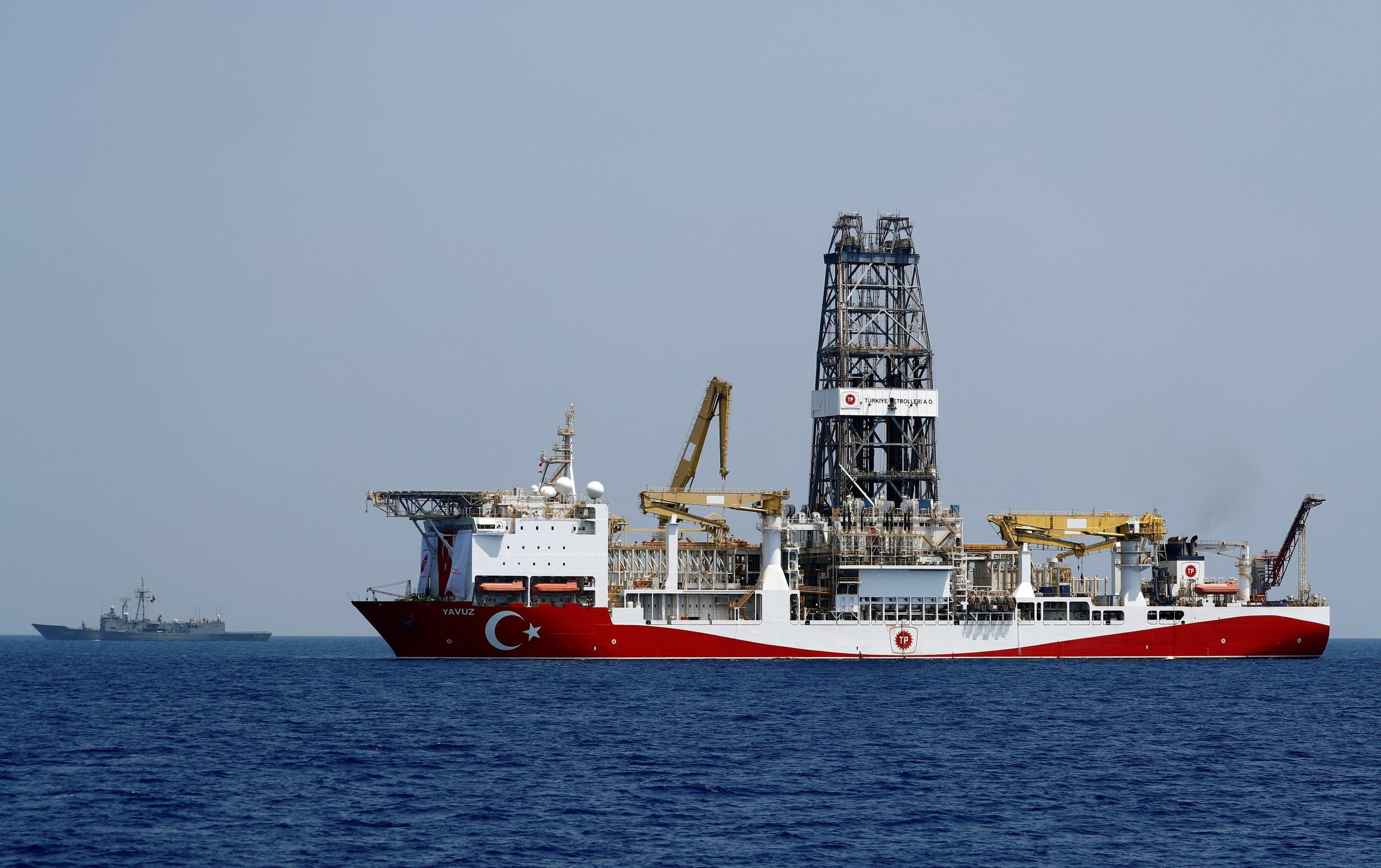 Turkish drilling vessel Yavuz is escorted by Turkish Navy frigate TCG Gemlik (F-492) in the eastern Mediterranean Sea off Cyprus, August 6, 2019. Picture taken August 6, 2019. (File photo: Reuters)