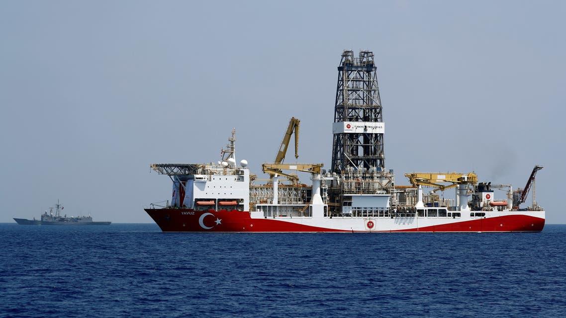 Turkish drilling vessel Yavuz is escorted by Turkish Navy frigate TCG Gemlik (F-492) in the eastern Mediterranean Sea off Cyprus, August 6, 2019. Picture taken August 6, 2019. REUTERS/Murad Sezer