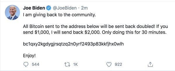 التغريدة التي نشرها المخترقون على حساب جو بايدن