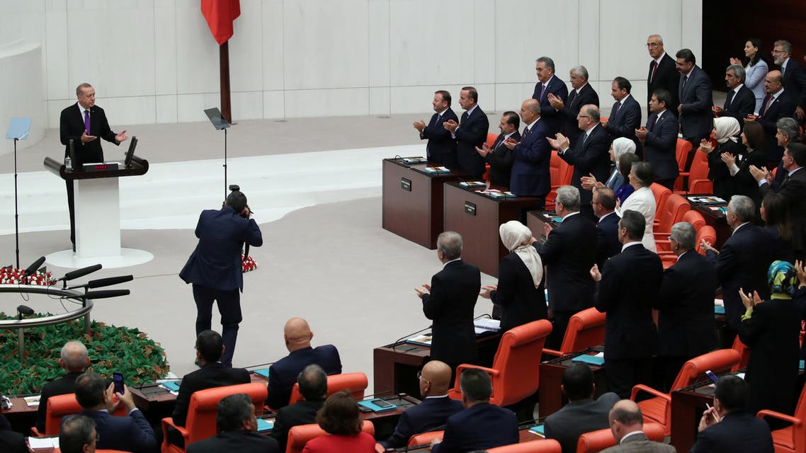 Turkey's President Tayyip Erdogan addresses members of parliament as he attends the reopenning of the Turkish parliament after the summer recess in Ankara, Turkey, October 1, 2018. REUTERS/Umit Bektas
