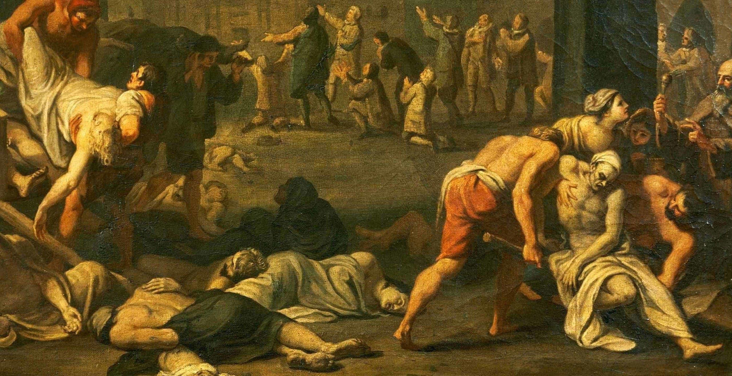 لوحة تجسد انتشار الجثث بسبب الطاعون الأسود