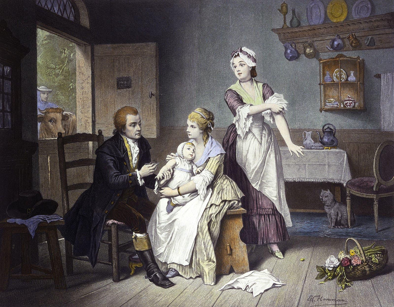 لوحة تجسد عملية التطعيم التي قادها الطبيب الإنجليزي إدوارد جينر