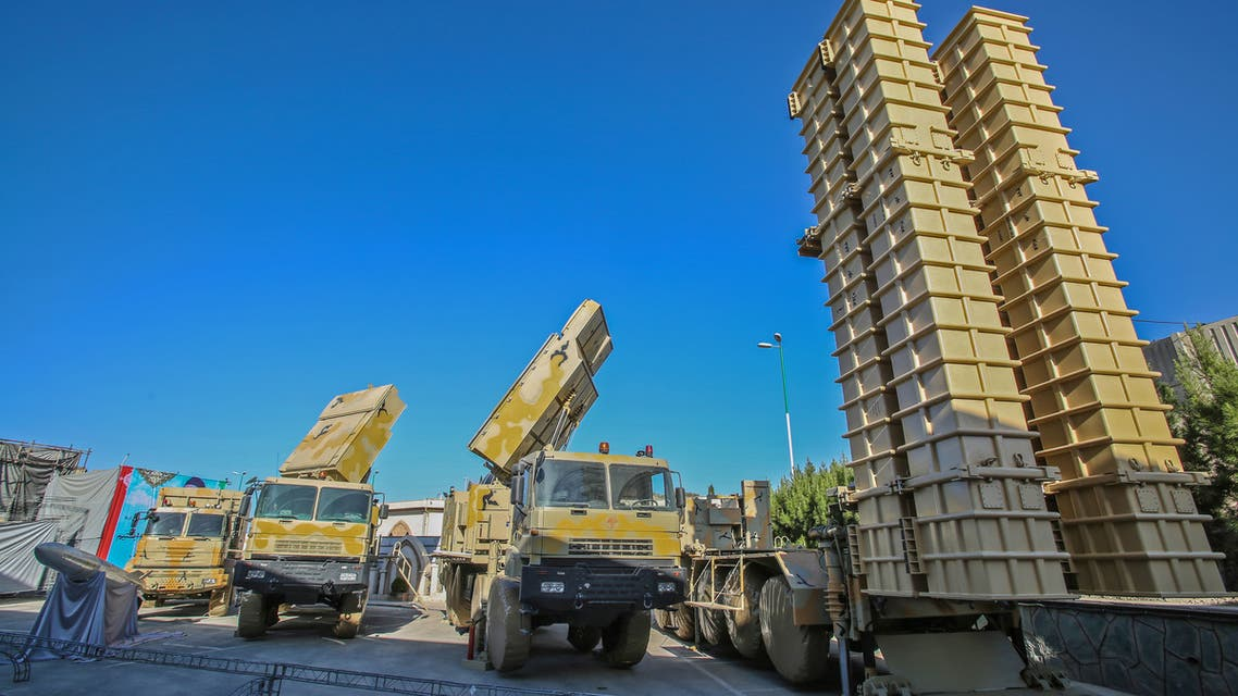 A handout picture provided by the Iranian presidential office shows Iranian-made air defence missile system Bavar 373 (believe in farsi) during a ceremony in Tehran on August 22, 2019.