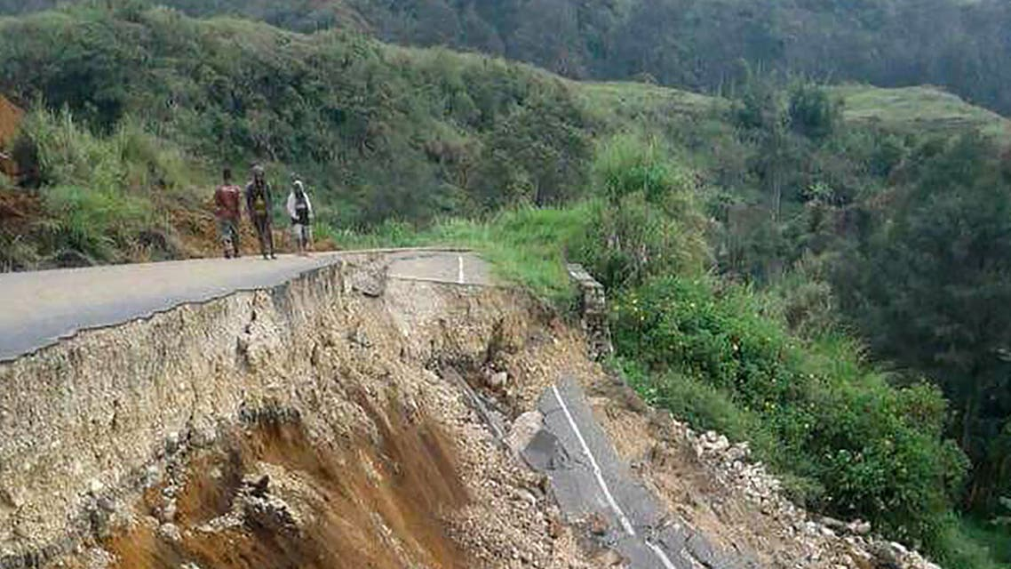 This photo taken on February 27, 2018 and received on February 28 shows damage to a road near Mendi in Papua New Guinea's highlands region after a 7.5-magnitude earthquake. (AFP)