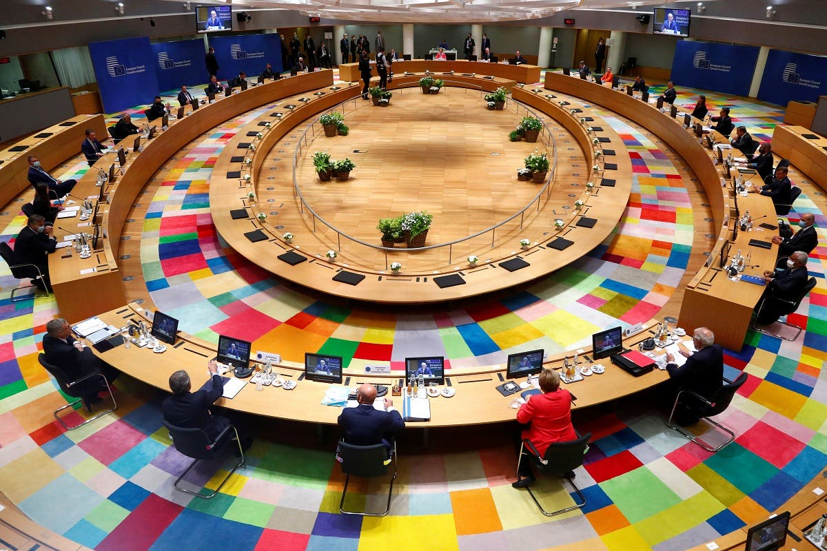 European Union leaders take part in the first face-to-face EU summit since the coronavirus outbreak, in Brussels, Belgium .(Reuters)