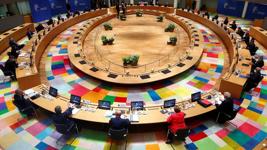 European Union leaders take part in the first face-to-face EU summit since the coronavirus disease (COVID-19) outbreak, in Brussels, Belgium July 17, 2020. REUTERS/