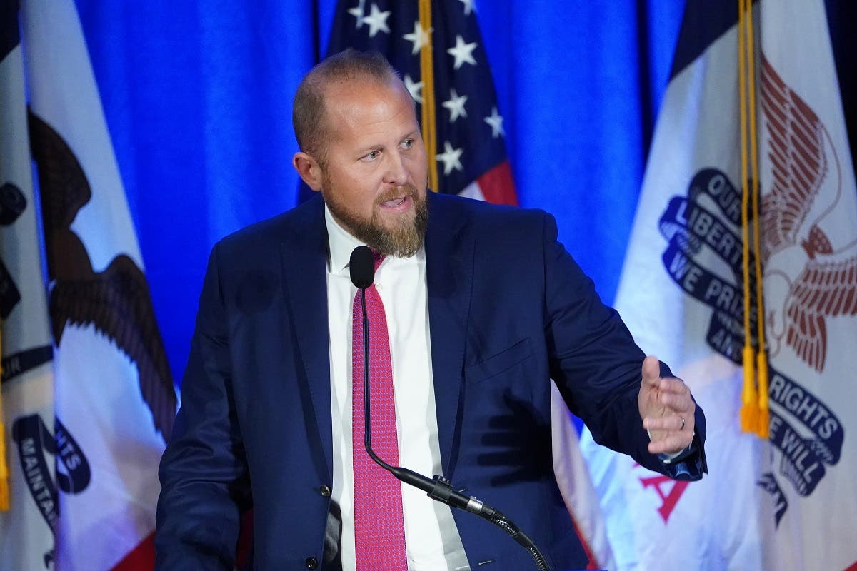 Brad Parscale speaks at a press conference in Des Moines, Iowa, February 3, 2020. (File Photo: Reuters)