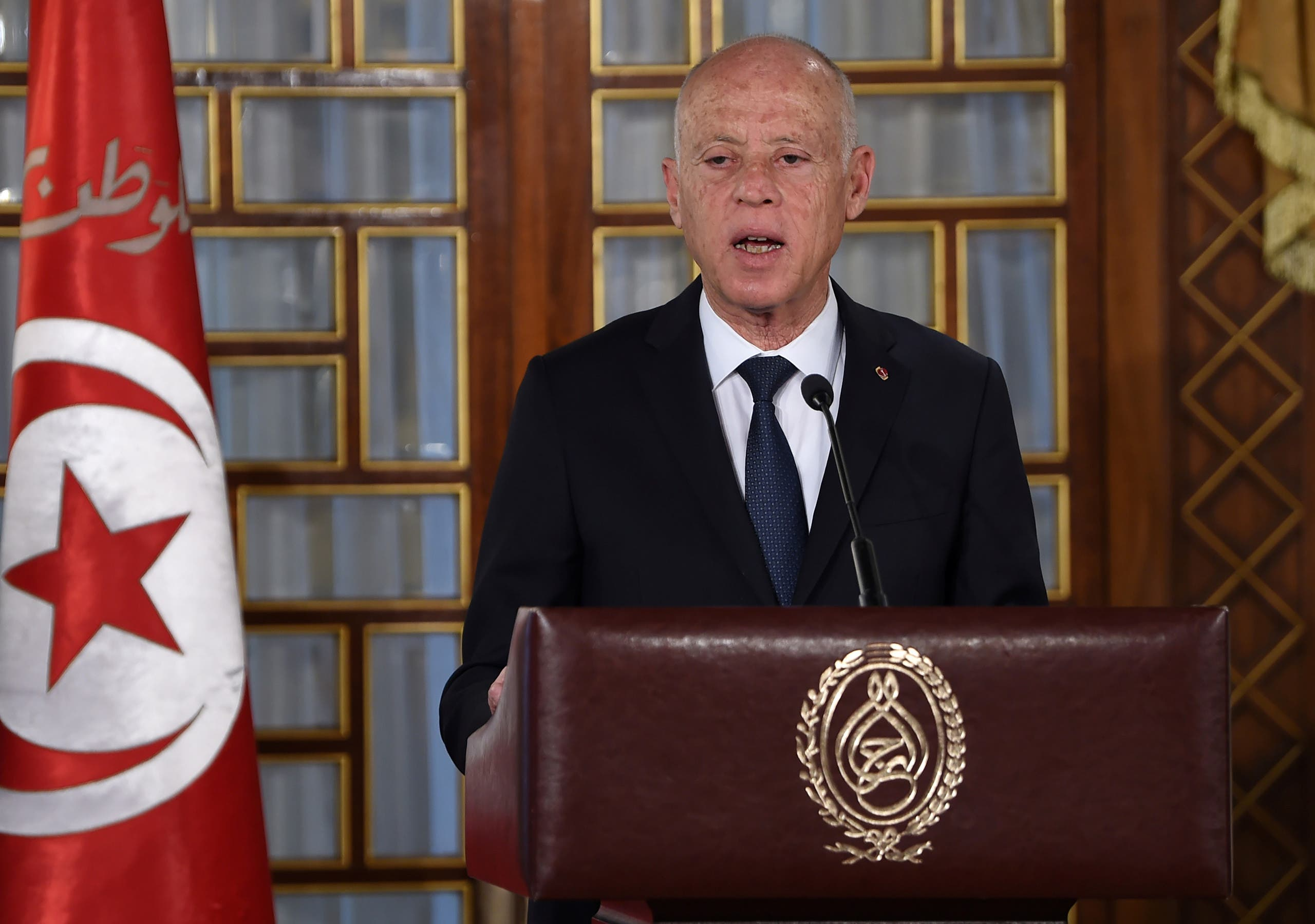 Tunisia's President Kais Saied gives a speech at the government's swearing-in ceremony at the Carthage Palace outside the capital Tunis, Tunisia, on February 27, 2020. (Reuters)