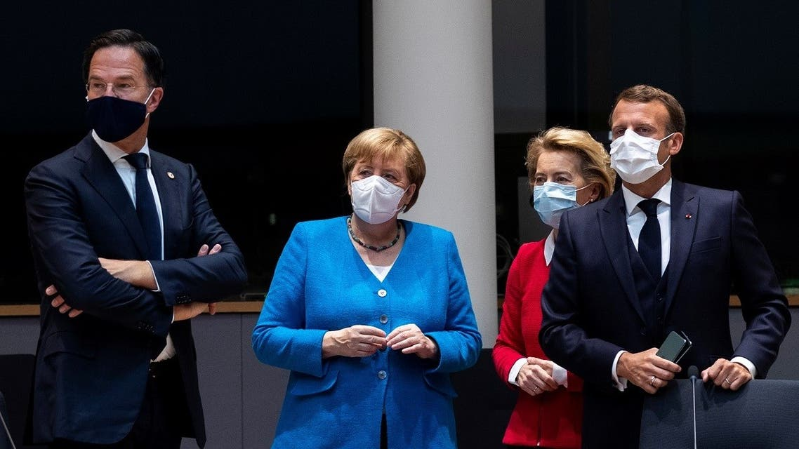 2020-0 Dutch Prime Minister Mark Rutte, German Chancellor Angela Merkel, European Commission President Ursula von der Leyen and French President Emmanuel Macron during a meeting on the sidelines of EU in Brussels, Belgium, on July 18, 2020. (Reuters)7-18T095552Z_1203277063_RC2LVH9ZI36T_RTRMADP_3_EU-SUMMIT