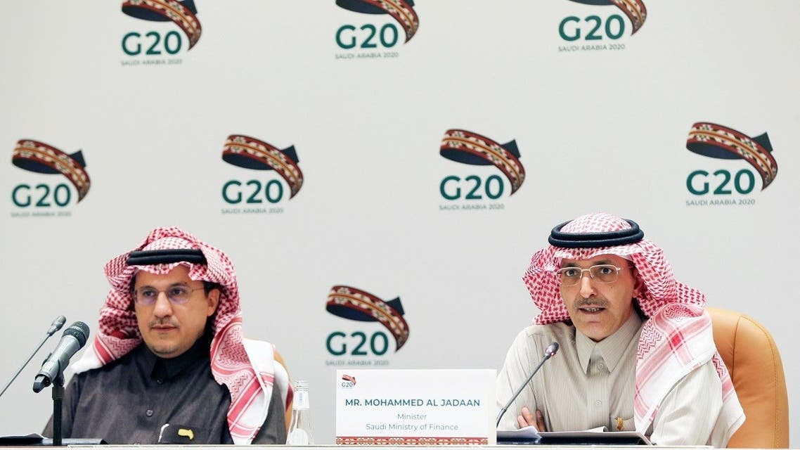 File photo of Saudi Minister of Finance Mohammed al-Jadaan speaks during a media conference with Saudi Arabia's central bank governor Ahmed al-Kholifey, in Riyadh, Saudi Arabia. (Reuters)