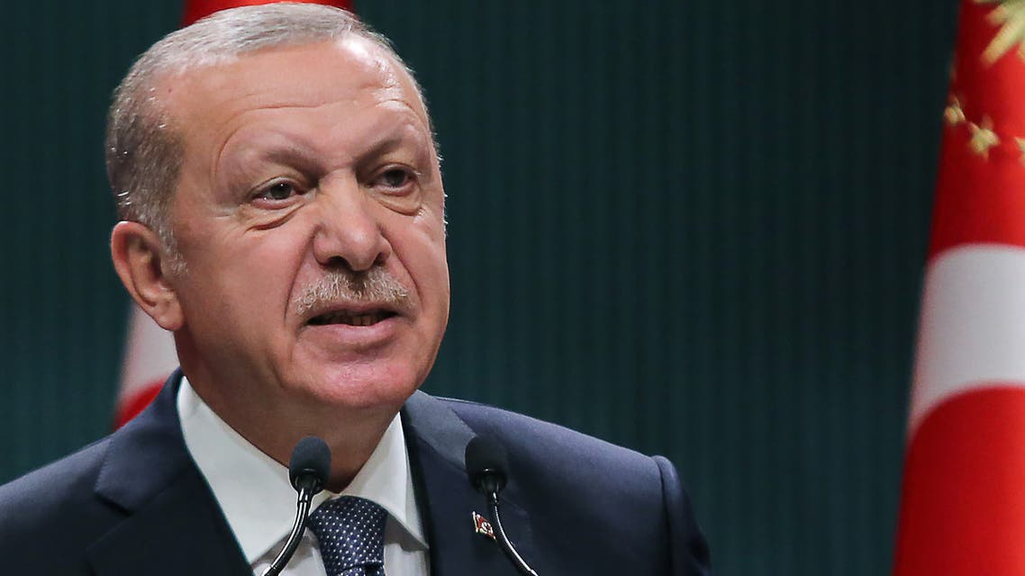 Turkish Presiednt Recep Tayyip Erdogan delivers a speech after chairing a cabinet meeting in Ankara on July 14, 2020.