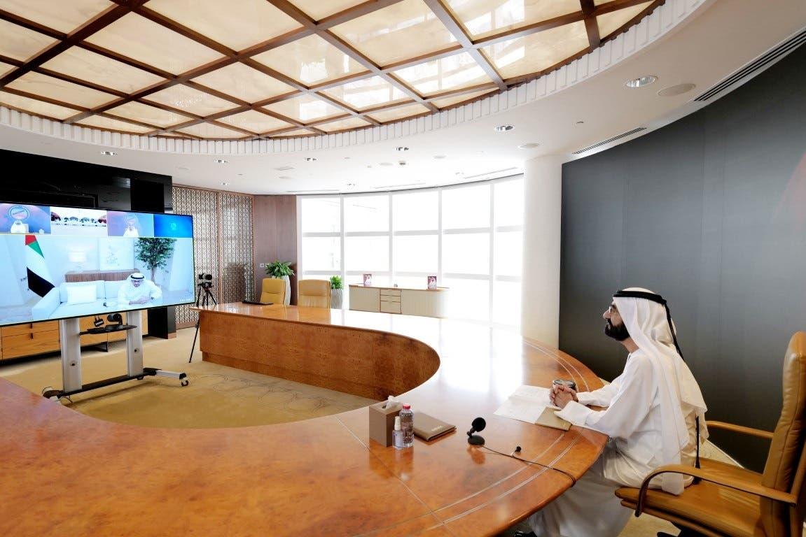Ruler of Dubai, Sheikh Mohammed bin Rashid Al Maktoum during the video meeting on Saturday. (Twitter/via @DXBMediaOffice)