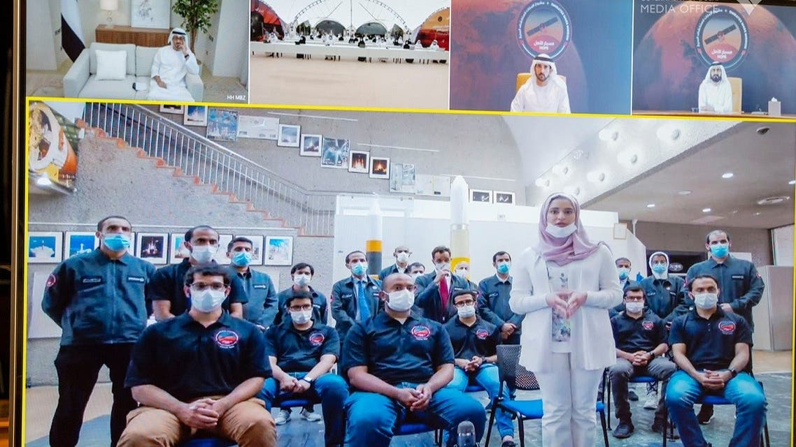 The video meeting was held with the Emirati launch team in Japan and 21 engineers from the UAE Space Agency and MBRSC stationed at the mission control room in Dubai's Al Khawaneej. (Twitter/via@DXBMediaOffice)