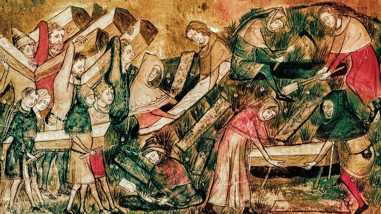 رسم تخيلي لعمليات دفن ضحايا الطاعون الأسود بالقرون الوسطى