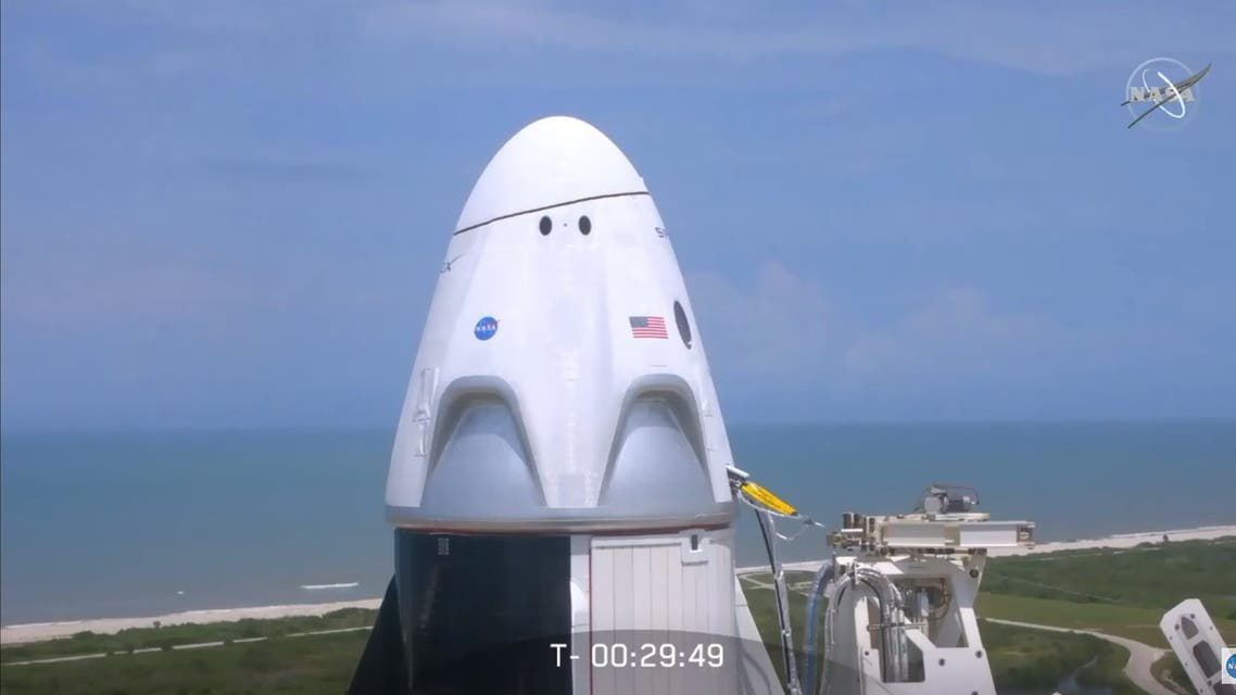 In this still image taken from NASA TV, the SpaceX Crew Dragon capsule is ready for launch at Kennedy Space Center in Florida, to the International Space Station on May 30, 2020. The mission, dubbed Demo-2, is the final test flight before NASA certifies the SpaceX spacecraft for regular crewed missions.
