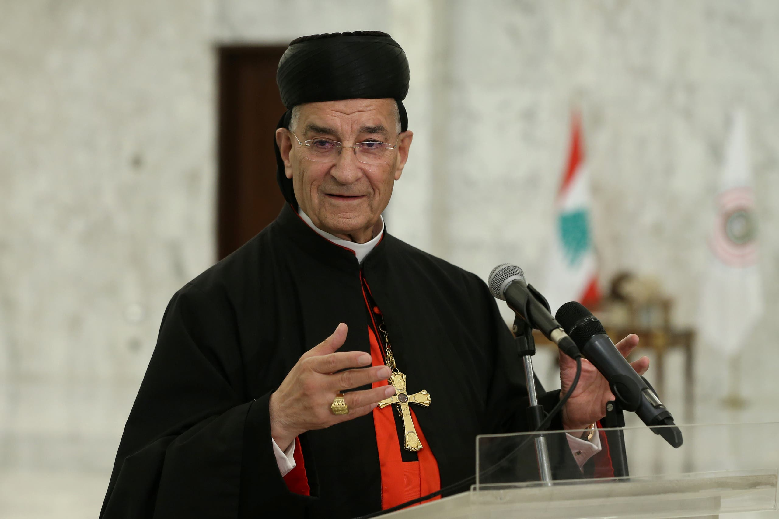 Lebanese Maronite Patriarch Bechara Boutros Al-Rai speaks after meeting with Lebanon's President Michel Aoun at the presidential palace in Baabda, Lebanon July 15, 2020. (Dalati Nohra/Handout via Reuters)