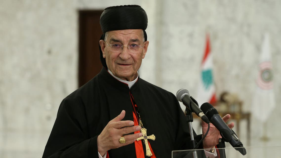 Lebanese Maronite Patriarch Bechara Boutros Al-Rai speaks after meeting with Lebanon's President Michel Aoun at the presidential palace in Baabda, Lebanon July 15, 2020. Dalati Nohra/Handout via REUTERS ATTENTION EDITORS - THIS IMAGE WAS PROVIDED BY A THIRD PARTY