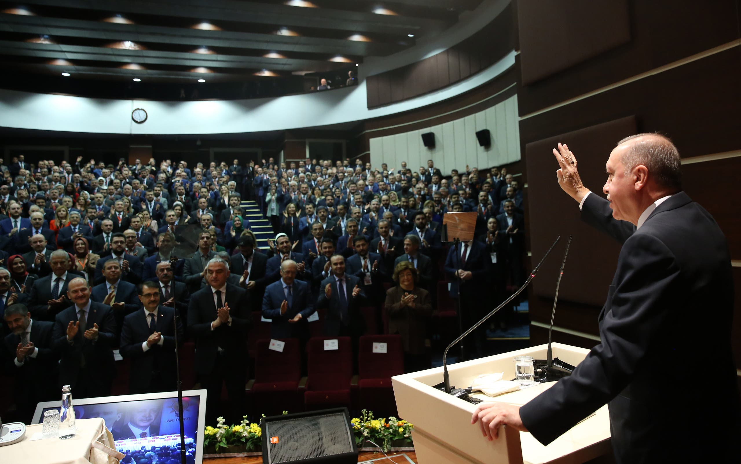 President Recep Tayyip Erdogan speaking to members of the ruling Justice and Development Party (AKP) in Ankara. (AFP)