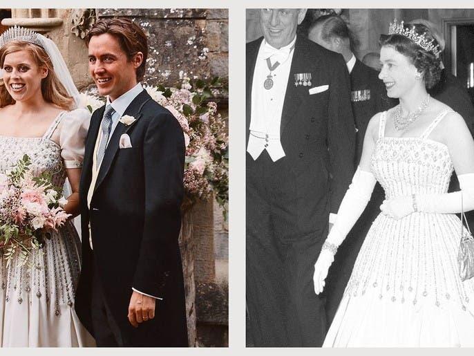 ثوب زفاف الأميرة بياتريس وتاجها من خزانة ملكة بريطانيا