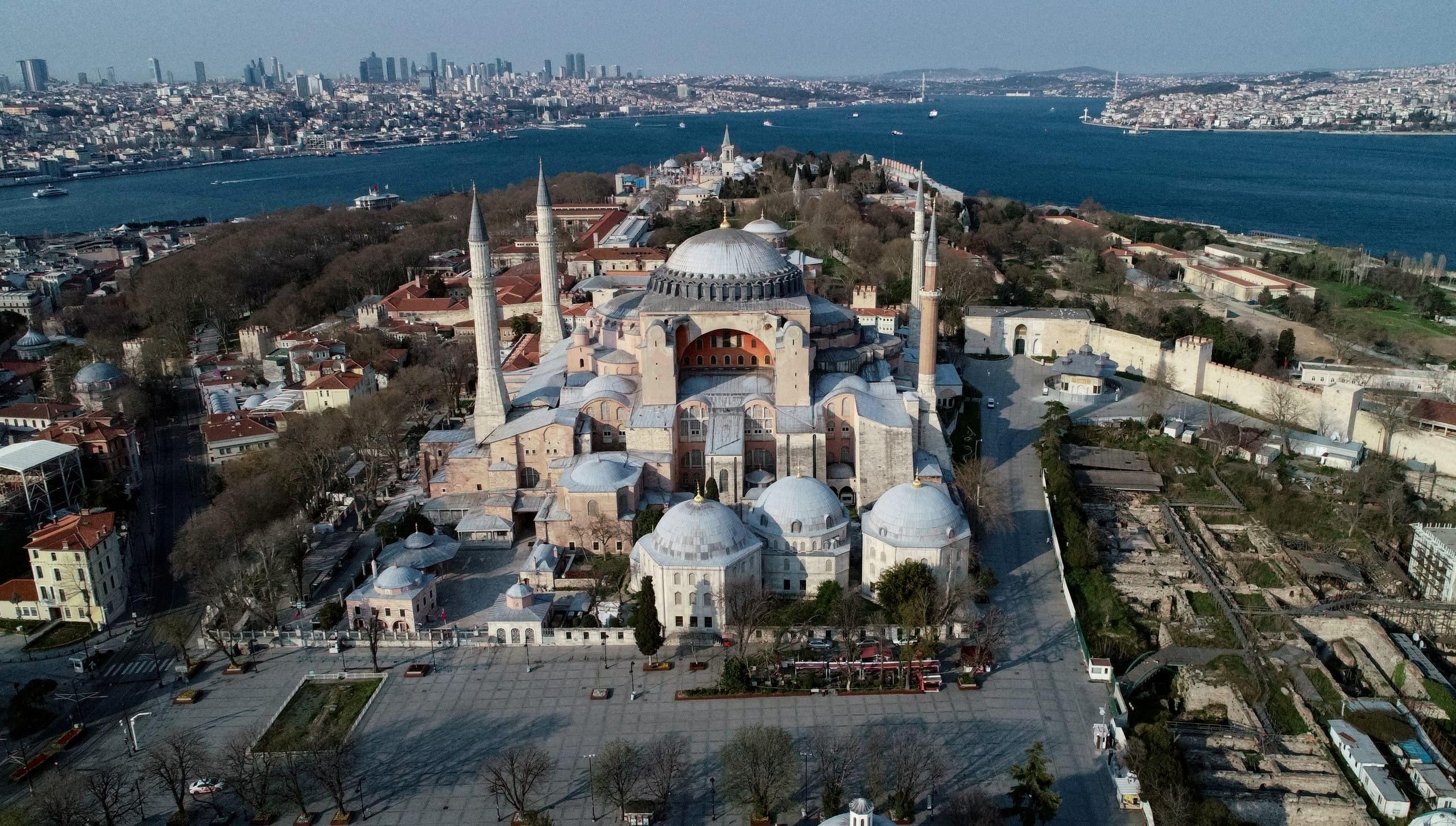 An aerial view of the Byzantine-era monument of Hagia Sophia in Istanbul on April 11, 2020. (AFP)