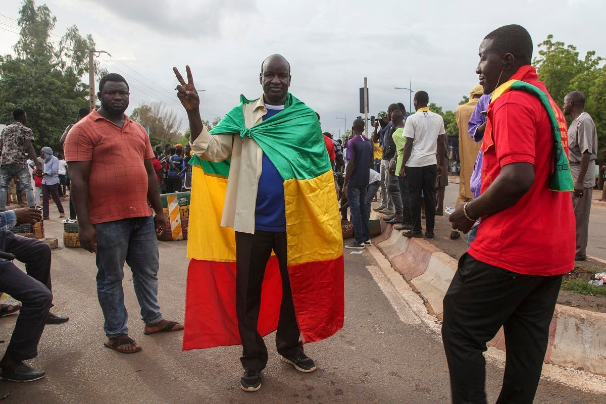 Anti-government protesters demonstrate in the capital Bamako, Mali, July 10, 2020. (AP)