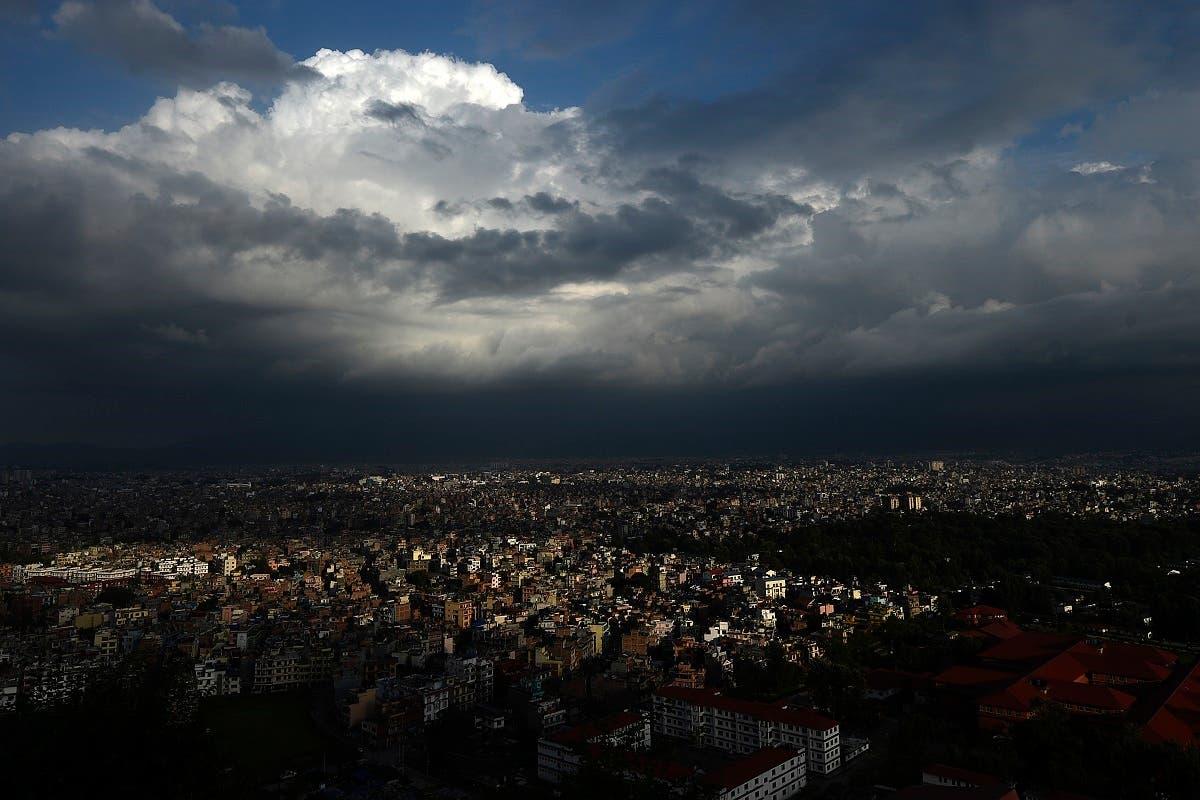Monsoon clouds loom over Kathmandu on July 13, 2020. (AFP)