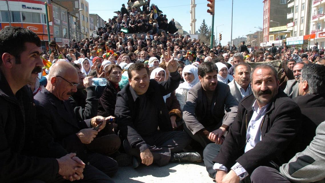 Kurdish activists and politicians occupy a main road as the part of their civil disobedience campaign in Van, Turkey on March 26, 2011. (AP)