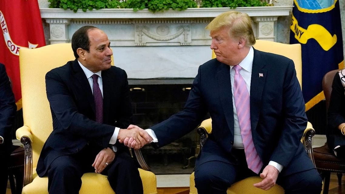 US President Donald Trump meets with Egypt President Abdel Fattah al-Sisi at the White House in Washington, US, April 9, 2019. (Reuters)