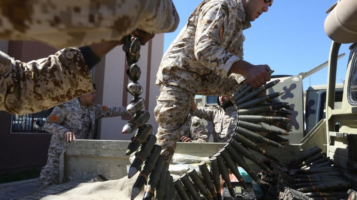 Fighters from a Misrata armed group loyal to the Government of National Accord (GNA) prepare ammunition in Libya, April 8, 2019. (File photo: AFP)