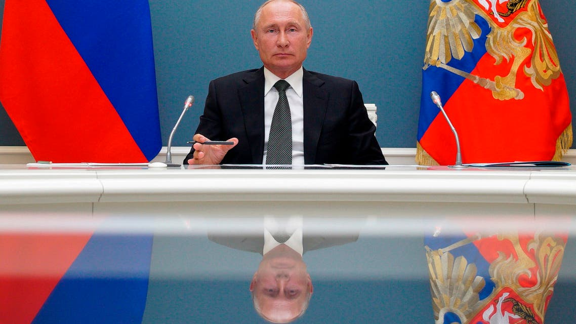 Russian President Vladimir Putin attends a video call in Moscow, Russia on June 30, 2020. (AP)