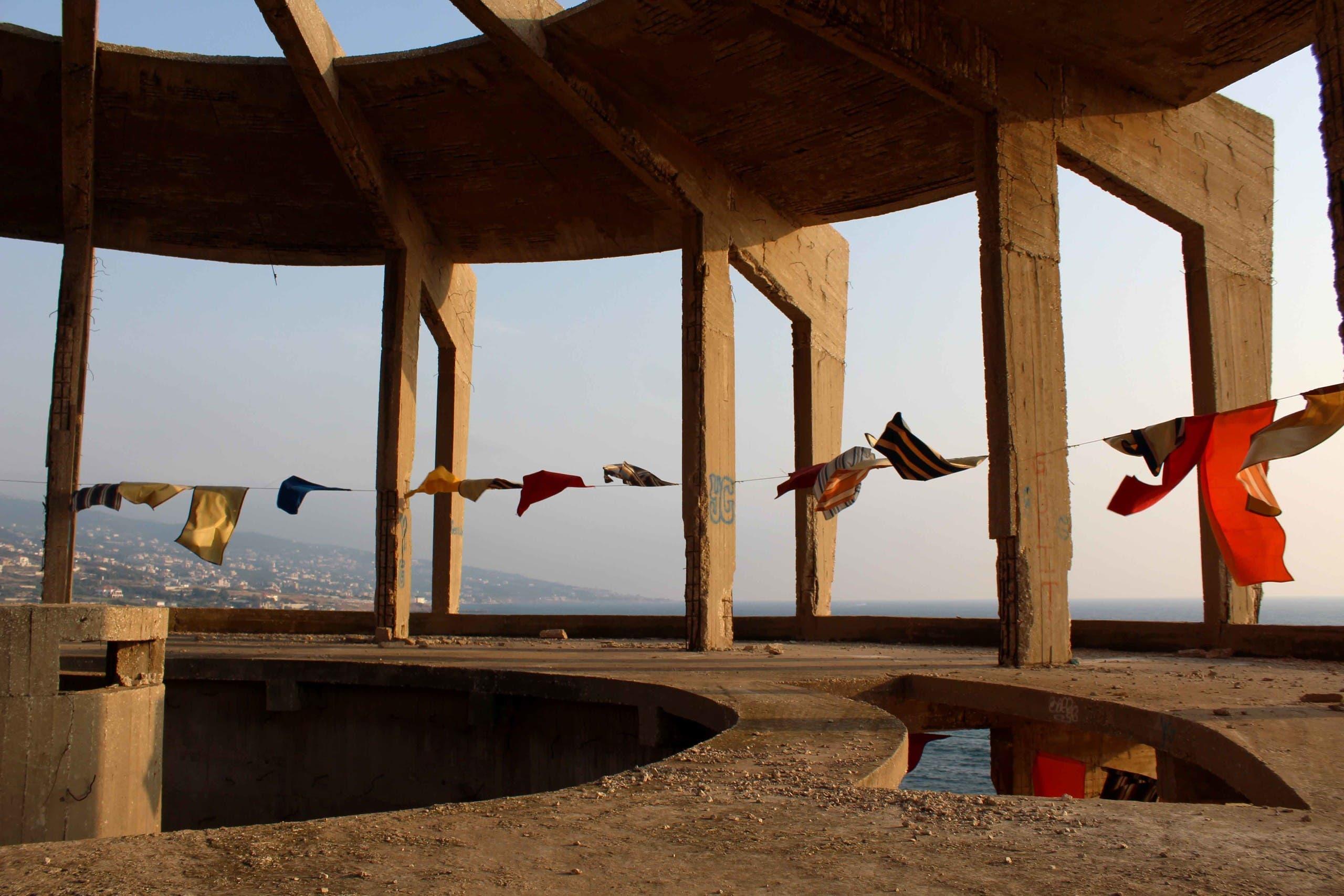 """Manchafet el Baher"" (Beach Towels) is Jad El Khoury's latest art installation in Lebanon at the abandoned aquarium in the seaside town of Batroun. (Danielle Karam)"