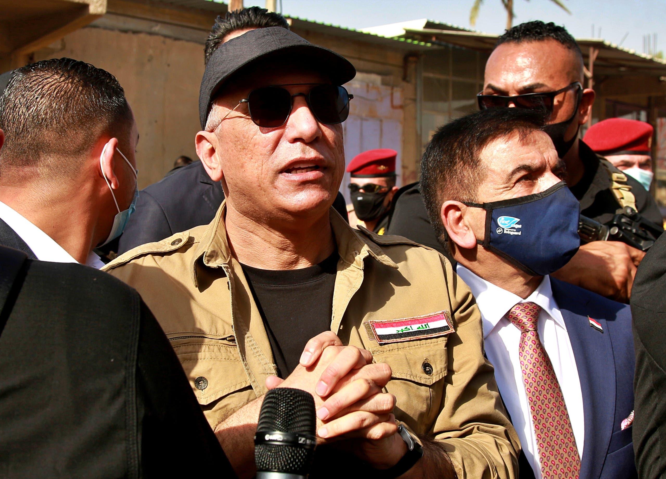 Iraqi Prime Minister Mustafa al-Kadhimi speaks to locals in Tarmiyah, Iraq July 20, 2020. (Reuters)