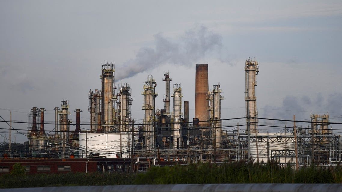 Smoke rises from oil refinery stacks at Philadelphia Energy Solutions plant in Philadelphia, Pennsylvania, US, on August 21, 2019. (Reuters)