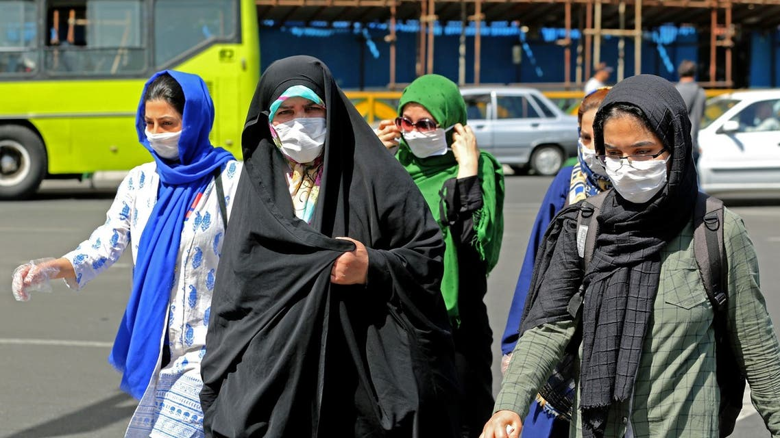 Iranian women wearing face mask are pictured in the capital Tehran on June 16, 2020 amid the coronavirus Covid-19 pandemic crisis. The Islamic republic has struggled to contain what has become the Middle East's deadliest outbreak of the COVID-19 illness since it reported its first cases in the Shiite holy city of Qom in February.