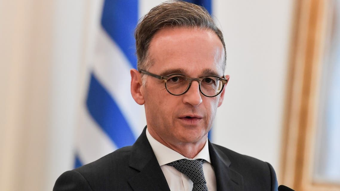 German Foreign Minister Heiko Maas gives a press conference following his meeting with his Greek counterpart in Athens on July 21, 2020, as part of Maas' one-day visit to Greece.
